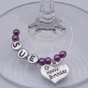 Happy Birthday Heart Personalised Wine Glass Charm
